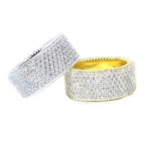 Other - 5TCW Pave Diamond 14k Finish Eternity Iced Ring